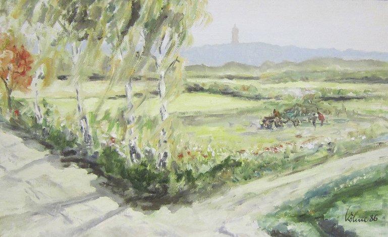 """Gerhard Köhne, """"Grunewaldturm"""", 1986, 32 x 54 cm"""