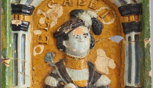 Ofenkachel, 16. Jh. Keramik 20,5x18 cm. Fundort: Palas der Zitadelle. Museum für Vor- und Frühgeschichte SMB. Foto: Eileen Jahnke.