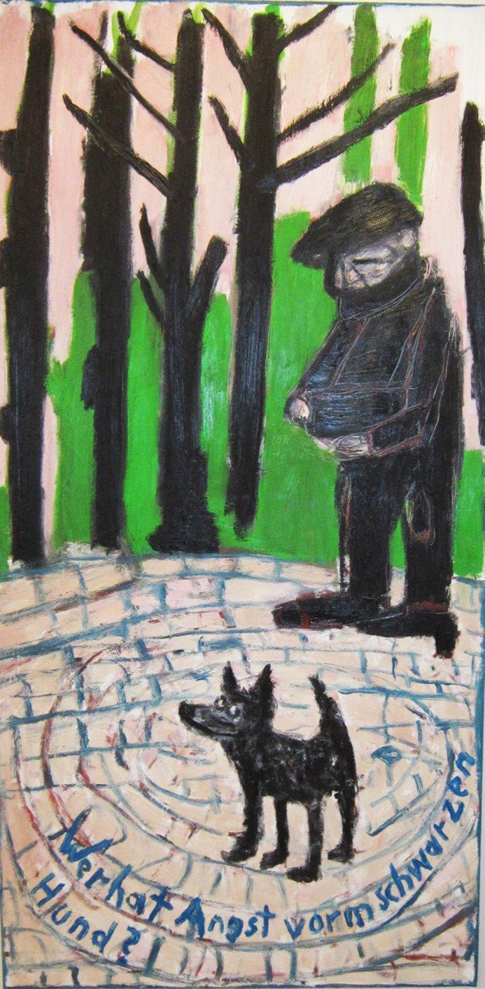 """Peter Herrmann, """"Wer hat Angst vorm schwarzen Hund"""", 2017, Öl/Lw."""