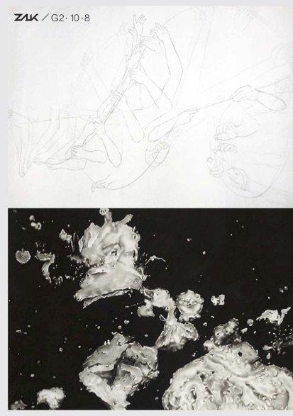 Abb: Timo Herbst, Sundial (Detail), 2017-2018, Graphit auf zweilagigem Japanpapier, 100 x 1400 cm Peter Hock, Drift, 2016, Reißkohle auf Papier, 300 x 240 cm