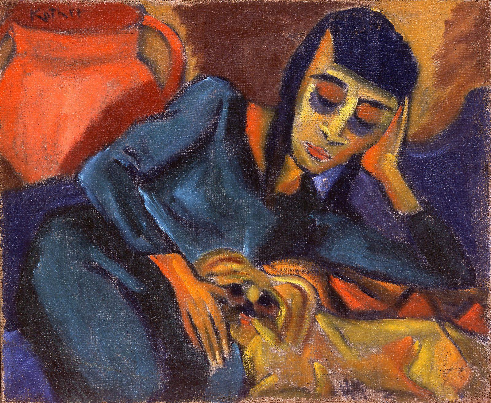 Paul Kother, Liegendes Mädchen mit kleinem Hund, Öl/ Lw., 57 x 68 cm