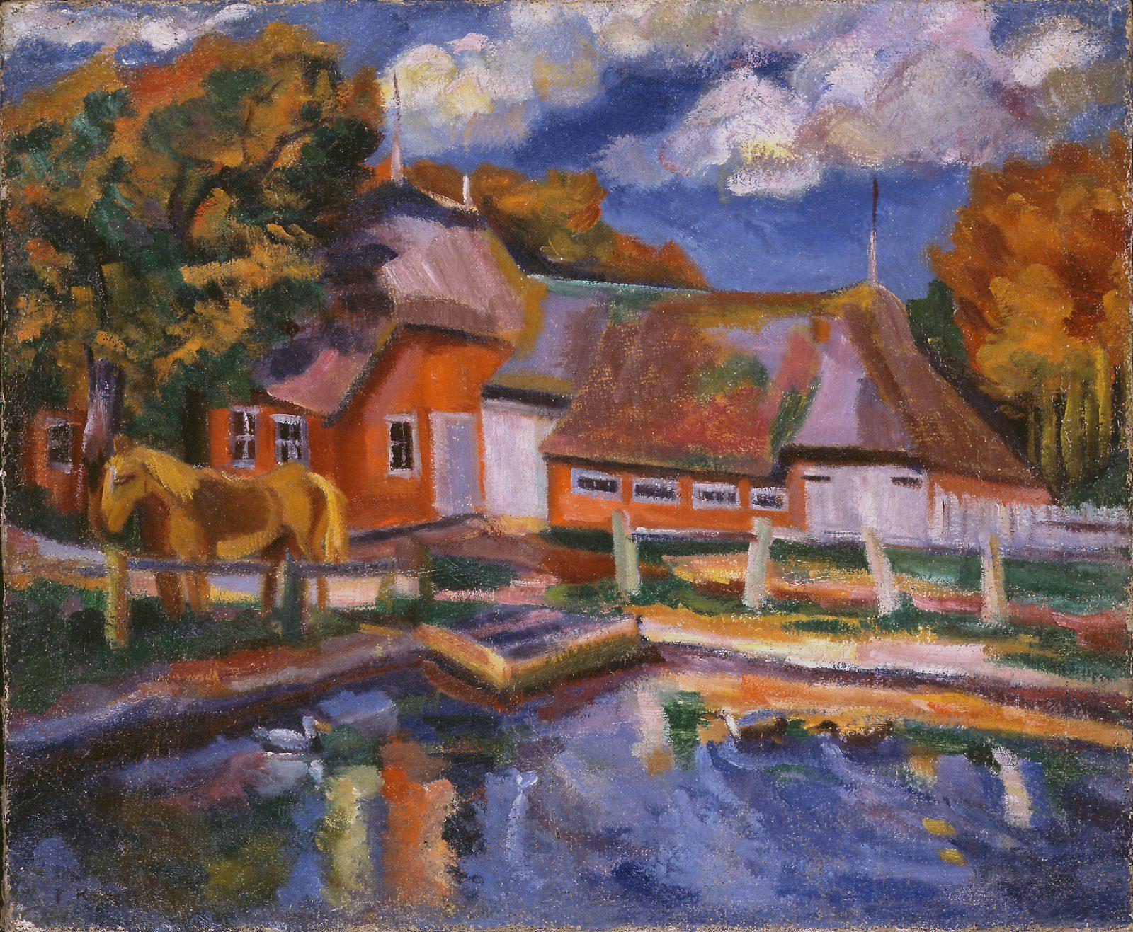 Paul Kother, Bauernhof mit Pferdetränke, Öl/ Lw., 55 65 cm