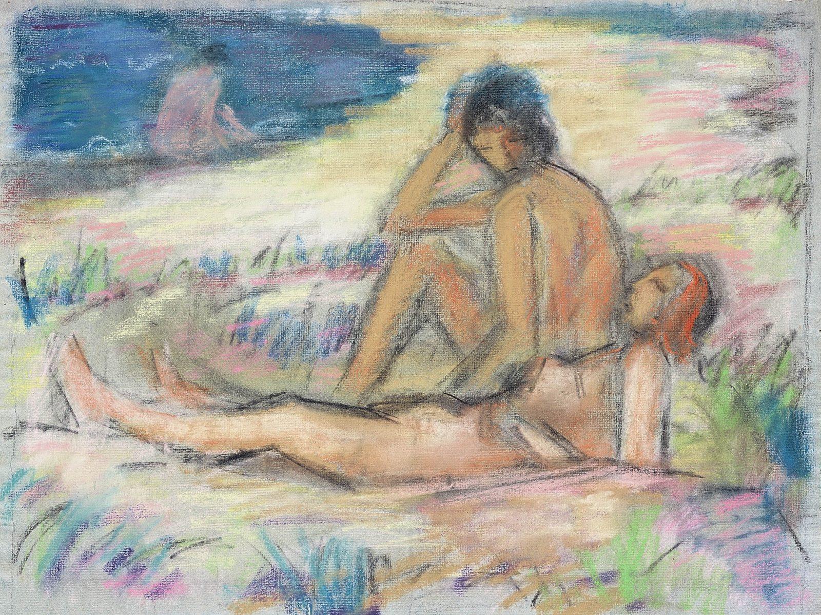 Paul Kother, Strandansicht mit sitzendem und liegendem Akt, Pastell, 46 61 cm