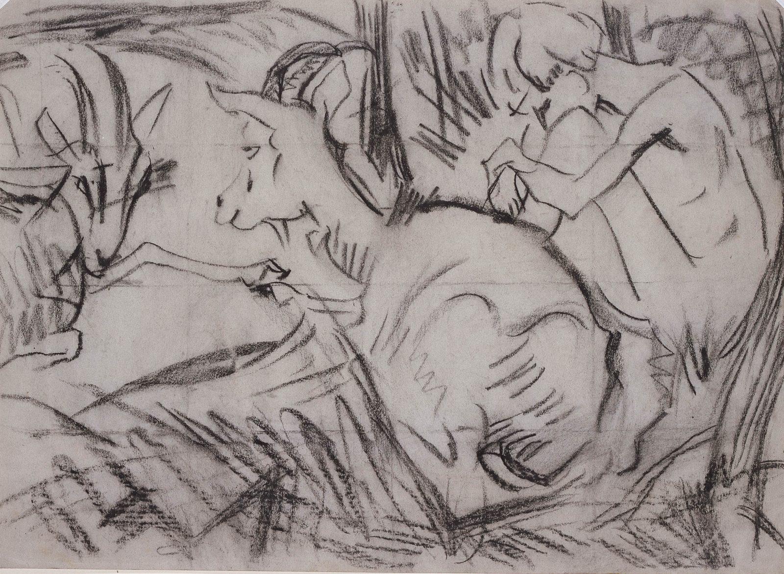 Paul Kother, Sitzender Hirte mit zwei Ziegen, Kohlezeichnung, 33 x 44,5 cm