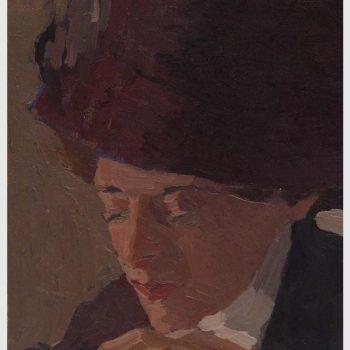 Abb.: Selbstportrait mit rotem Hut, Öl auf Leinwand, 36×40 cm, um 1913 / Grafik: Bernhard Rose