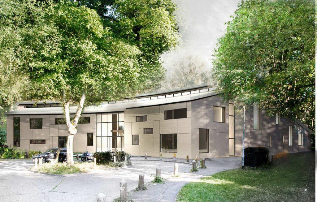Wettbewerb für Kunst am Bau - SJC Wildwuchs Berlin, Ansicht Eingangsbereich © Architekturbüro Hagemann & Liss, 2020